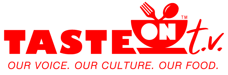 Taste On TV Logo Red With Tagline Our Voice Our Culture Our Food.